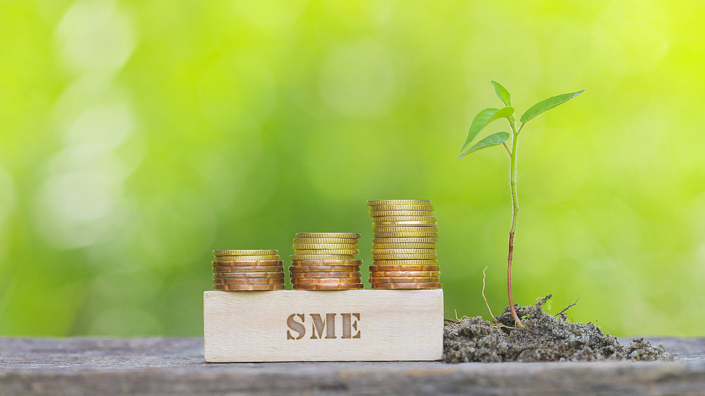 何枚も重ねたコインが置かれているSME(中小企業)と書かれた木の置物