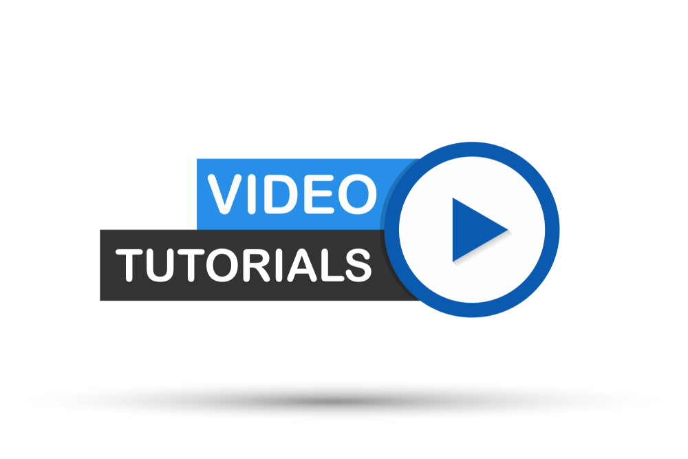 「VIDEO TUTORIALS」の文字と再生ボタンの画像