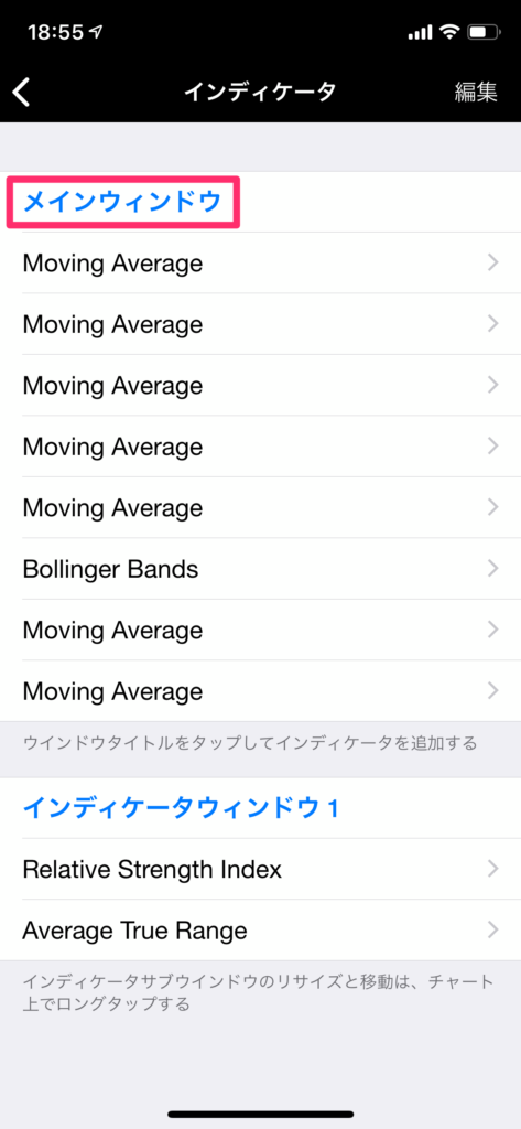 iPhoneアプリのMT4にインディケーターを表示させる手順を解説した画像